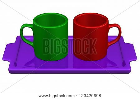 Two mugs on salver isolated on white background. 3D render.