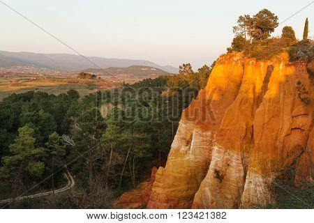 Famous ochre rocks around Roussillion village in Provence