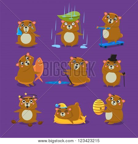 Brown Bear Different Emotions Set Flat Vector Cartoon Style Funny Drawing On Violet Backgroud