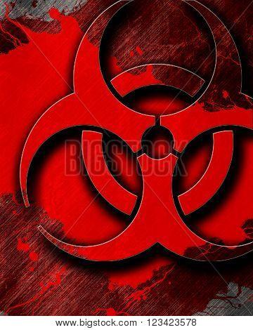 Bio hazard sign on a grunge background with some soft scractches