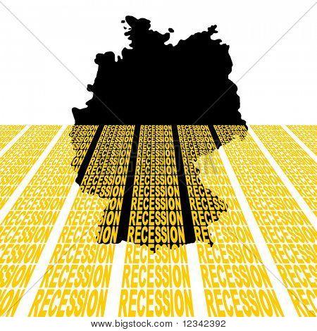 Mapa de Alemania se hunde en la ilustración del texto de recesión