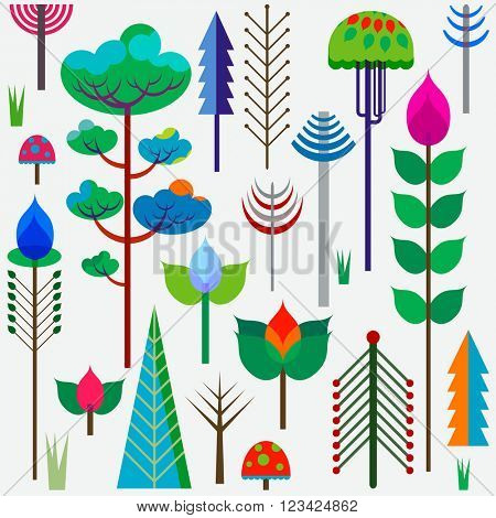forest colorful whimsy trees
