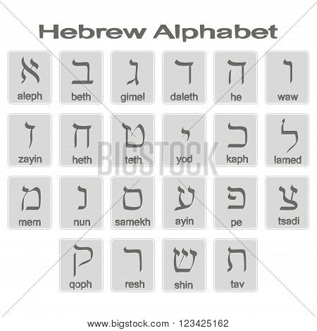 Set of monochrome icons with hebrew alphabet for your design