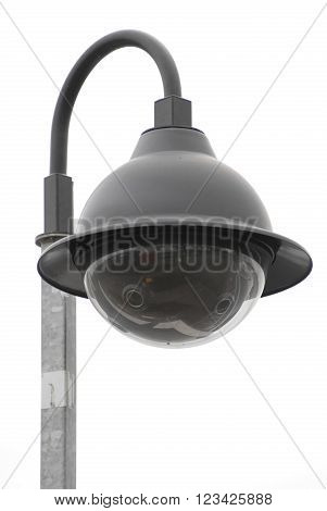 Street community  CCTV camera isolated on white.