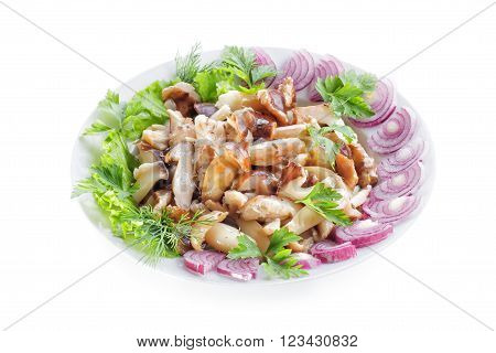 Mushrooms pickled with onion and parsley. Isolated image.