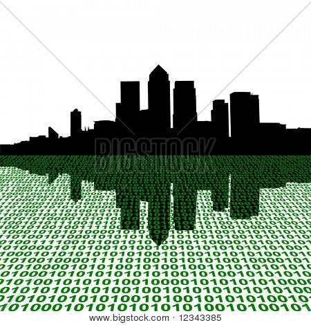 London Docklands skyline with binary perspective foreground