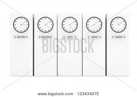 Time Zone Clocks showing different time in front of Columns. 3d Rendering