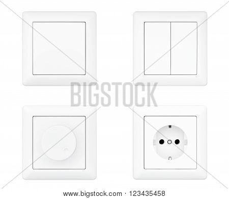 Power Socket Dimmer and Light Switches set on a white background. 3d Rendering