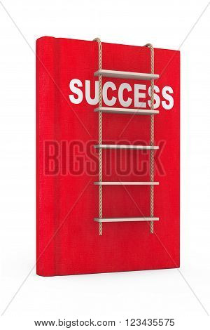 Success Book with Rope Ladder on a white background. 3d Rendering