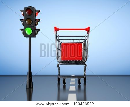 Green Light for Shopping. Shopping Cart with Traffic Light on a blue background