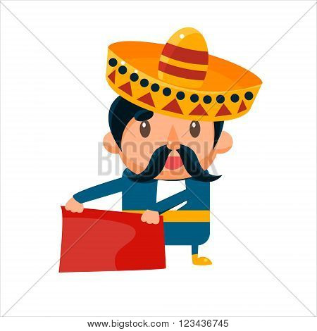 Spanisht Toreador In Traditional Clothes Isolated Flat Vector Cute Illustration On White Background