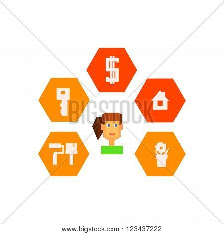 Woman Surrounded By Resettlement Icons  8-bit Abstract Primitive Flat Vector Illustration On White Background