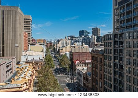 Sydney Australia city cbd with tall buildings and george street during the day