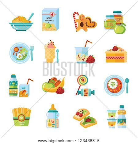 Infant and baby food flat icons collection with milk formula and vegetable puree abstract isolated vector illustration