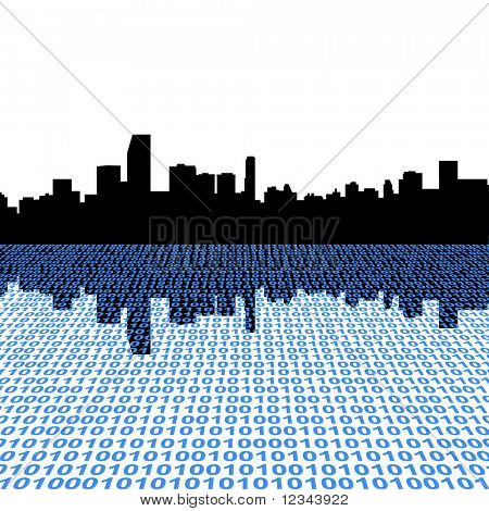 Miami skyline with binary perspective foreground
