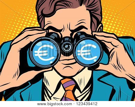 Monitoring the currency Euro exchange rate pop art retro style. A man looks through binoculars. The trader on the exchange