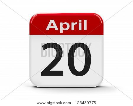 Calendar web button - Twentieth of April three-dimensional rendering, 3d illustration