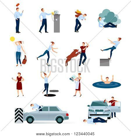 Accidents injuries dangers decorative icons set with fallings poisoning bites of animals road crashes isolated vector illustration