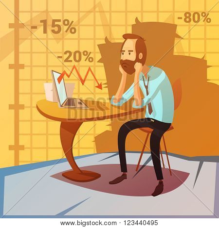 Business failure background with recession and decrease symbols cartoon vector illustration