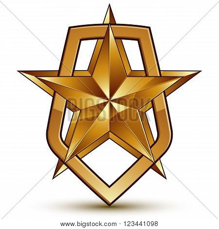 Vector Stylized Symbol Isolated On White Background.  Glamorous Pentagonal Golden Star, Clear Eps 8,