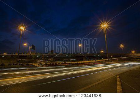 traffic light and urban scene dusky sky