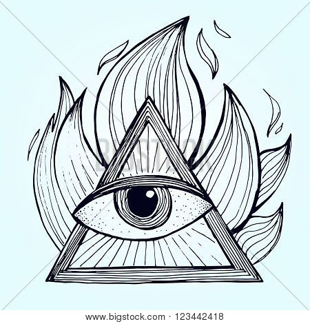 An Eye With Pyramid In Fire On Background. Alchemy Masonic Symbol.