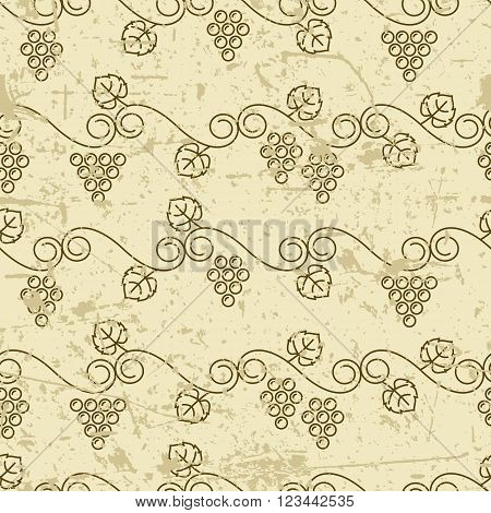 Vector old seamless pattern with climbing vine grapes. Linear autumn plants background. Design for print package wrapping paper or web.