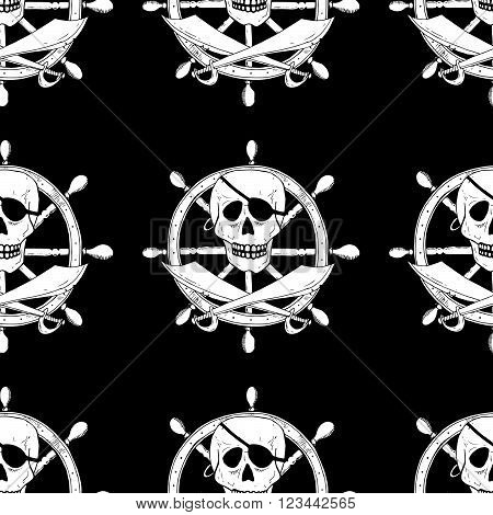 Pirate Sign With Skull And Sabers With A Helm On Background. Seamless Pattern