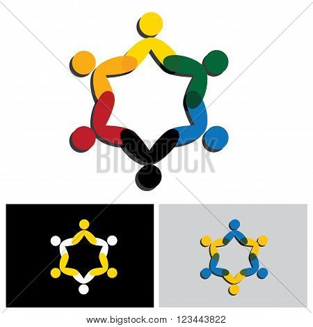 Circle Of Friendship, Cooperation, Teamwork Concept Vector Icon.