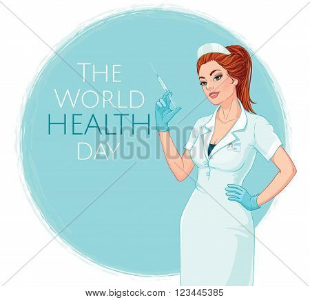 Vector illustration. Attractive young nurse with a syringe in her hand