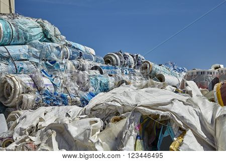 Industrial plastic wrapping trash waste recycling disposal industry