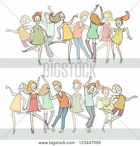 Set of sketch dancing people in different poses on the dance floor. Doodle collection of cartoon dancers women and men funny characters. Hand drawn vector illustration isolated on white background.