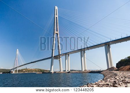 Suspension Russkiy Bridge Seen From Russkiy Island In Vladivostok,  Russia