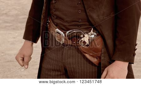TOMBSTONE, ARIZONA - MARCH 20: Gun belt worn by a gunfighter at the OK Corral in Tombstone, Arizona on March 20th, 2016.