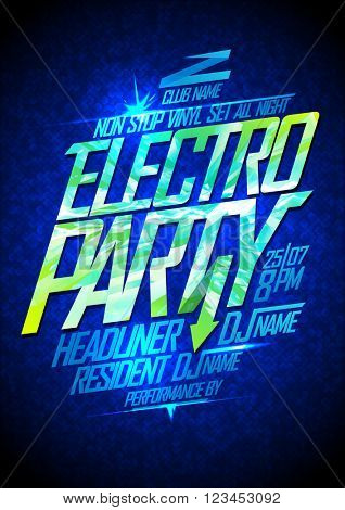 Electro party neon poster design