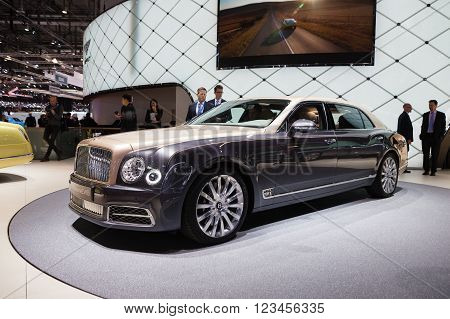 GENEVA, SWITZERLAND - MARCH 1: Geneva Motor Show on March 1, 2016 in Geneva, Bentley Mulsanne EWB, front view