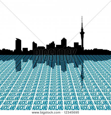 Auckland skyline with city text perspective illustration JPEG