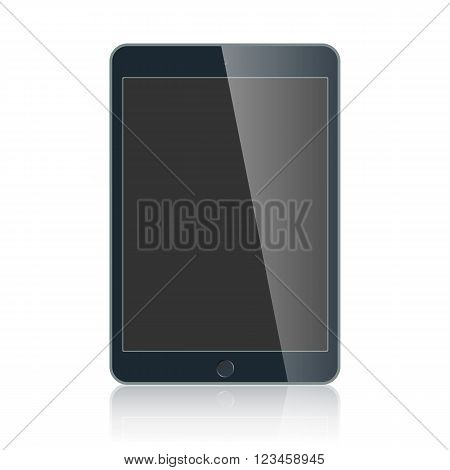 Realistic black touchpad with blank screen isolated on white background. Vector EPS 10