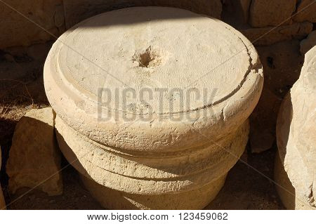 Broken marble column in Mamshit National parkIsrael.