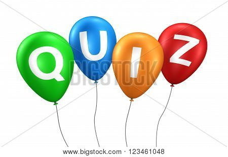Quiz online gaming Internet and blog concept with quiz word and sign on colorful balloons 3D illustration isolated on white background.