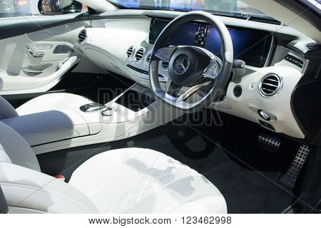 Nonthaburi - March 23: Interior Design Of New Mercedes Benz S500 Coupe Amg Premium On Display At The