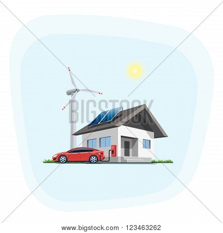 Flat vector illustration of a red electric car charging at the wall charging station placed on a house with solar panels. Wind turbines are in the backround. Electromobility home charging e-motion concept.