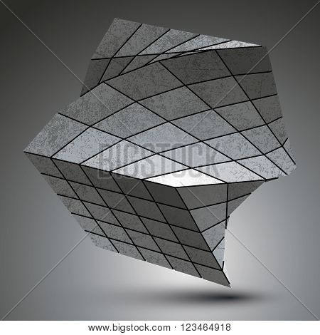 Zink Squared Stylish 3D Construction, Dimensional Grayscale Twisted Object.