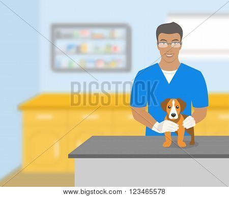 Young smiling veterinarian African American man holding a dog at a table in veterinary office. Vector flat illustration. Pets health care horizontal banner. Veterinary cartoon concept