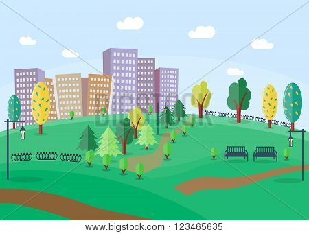 City Park with benches and trees. Park in the town. Park on the background of skyscrapers. Green park in the city. Flat style. Vector illustration