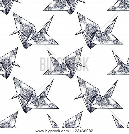 Origami ornate crane vector seamless pattern. Endless texture can be used for wallpaper, pattern fills, web page background, surface textures. Vector monochrome geometric ornate oriental birds .