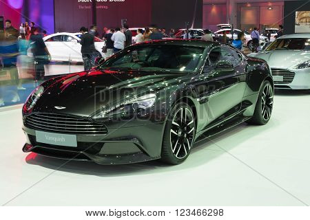 NONTHABURI - MARCH 23: NEW Aston Martin Vanquish on display at The 37th Bangkok International Motor show on MARCH 23, 2016 in Nonthaburi, Thailand.