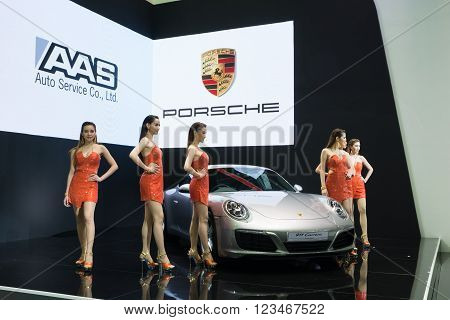NONTHABURI - MARCH 23: New Porsche 911 Carrera S on display at The 37th Bangkok International Motor show on MARCH 23 2016 in Nonthaburi Thailand.
