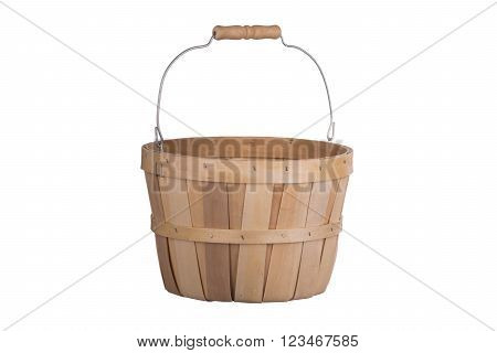 Old fashioned wooden basket 3/4 view isolated on white background
