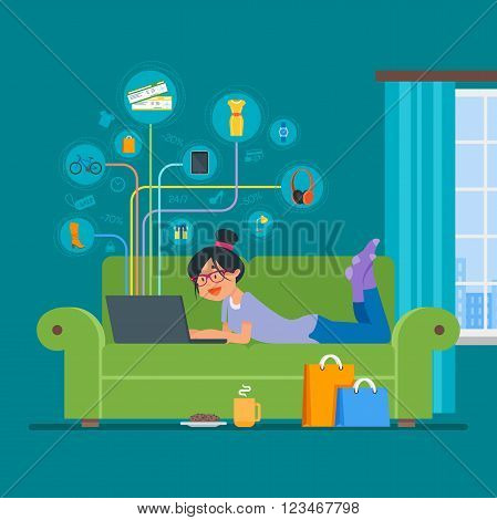 Online shopping concept vector illustration flat style design. Girl shopping online on internet staying at home. Room interior.